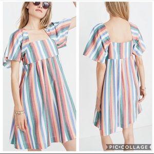 Madewell Square-Neck Festival Stripe Mini Dress XS